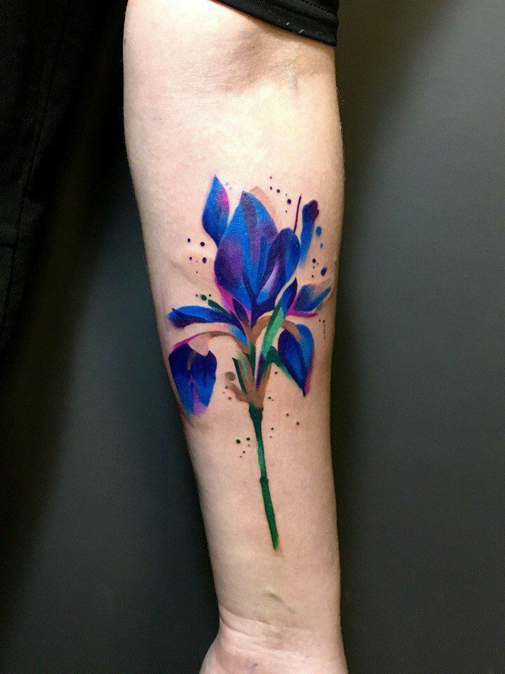 35 Best Watercolor Tattoos Design Ideas Collection 3 Iris Flower