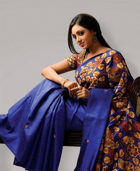Royal Kalamkari  Royal blue kanchi silk Saree with Kalamkari appliqué