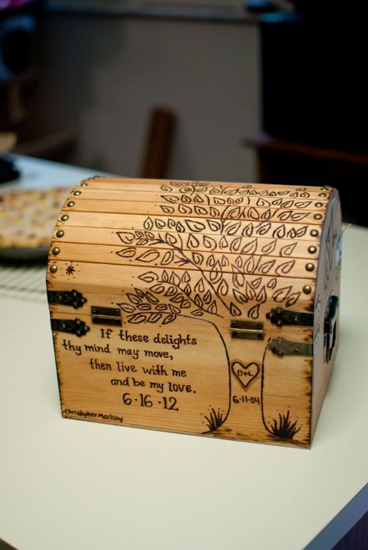 Perfect!! Beautiful wood burned box. Great wedding decor.