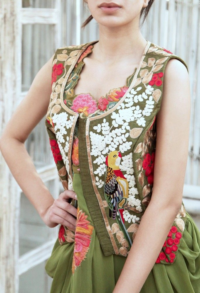 Olive Green Bird Embroidered Waistcoat