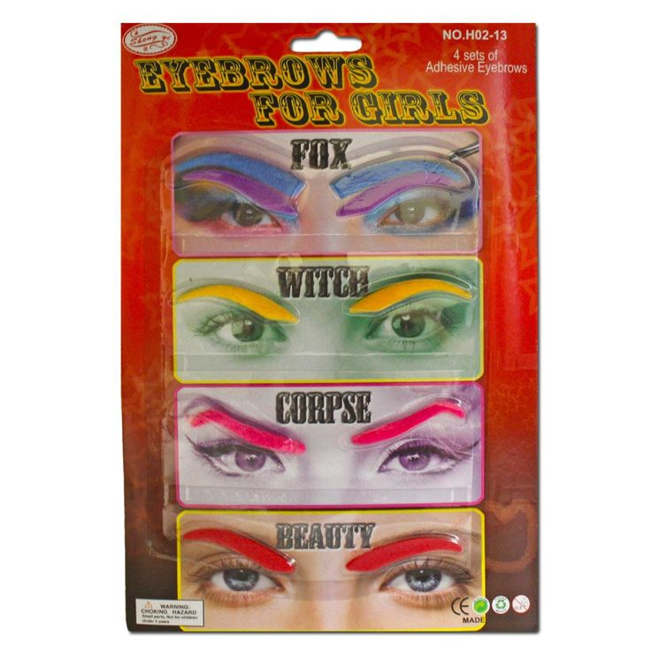 Fancy Dress Costume Accessory - Colourful Eye Brows For Girls