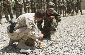 Canadian Forces Personnel describe the safe containment and destruction of a Improvised Explosive Device to a Afghan Soldier