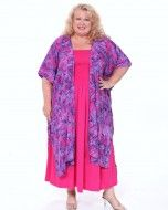 Plus Size Hot Pink Fat Mermaid/Purple  Long Cocoon Jacket Front View