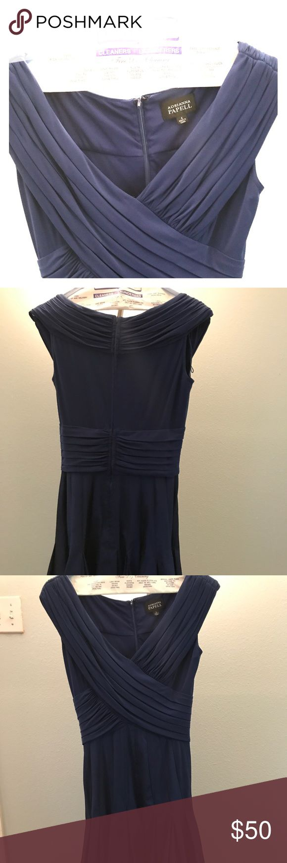 Vintage look navy blue dress Vintage look navy dress used a few times. As new. Ideal for those tea parties in a Sunday afternoon or Vintage times at Disney Adrianna Papell Dresses Wedding