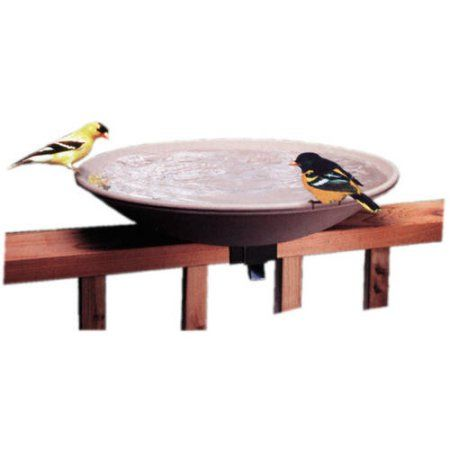 API 20 inch Unheated Bird Bath Bowl with Tilt-to-Clean Deck Rail Mounting Bracket, Beige