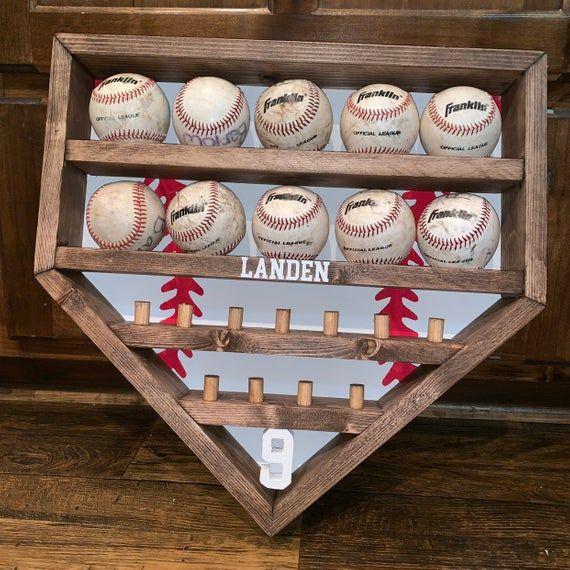 Baseball And Ring Display Home Run Ball And Ring Holder Etsy Baseball Shelf Baseball Decor Ring Displays