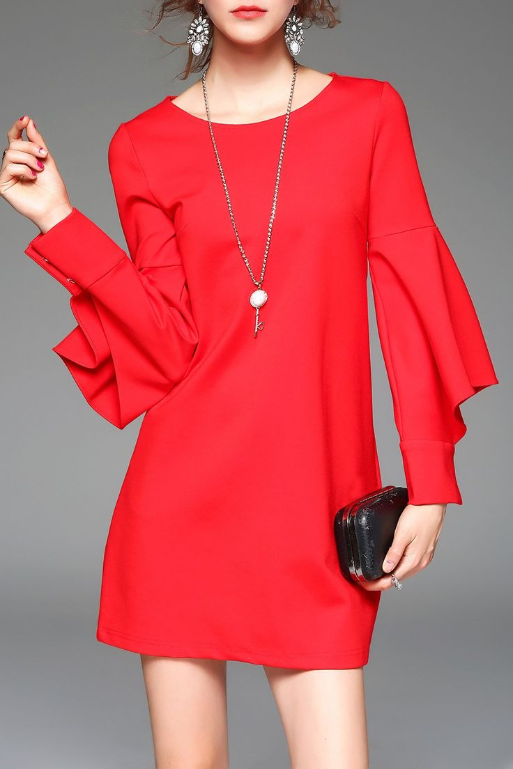 Long Sleeve Flounce Mini Dress