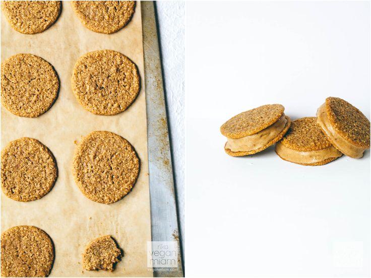 #Vegan #GlutenFree Peanut Butter & Salted Caramel Sandwiches | Vegan Miam