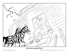noah coloring page god saved the animals