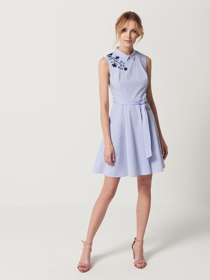 Koszulowa sukienka z rozkloszowanym dołem, MOHITO, QG523-05X