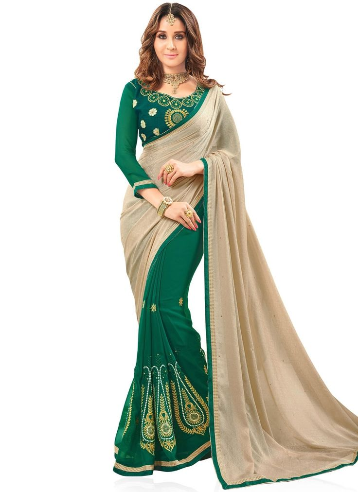 Vivacious Beige and Green Fancy Fabric Half N Half  Saree