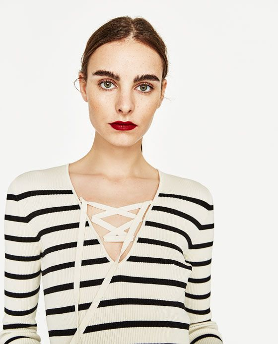 Image 2 of V-NECK SWEATER WITH BOW from Zara