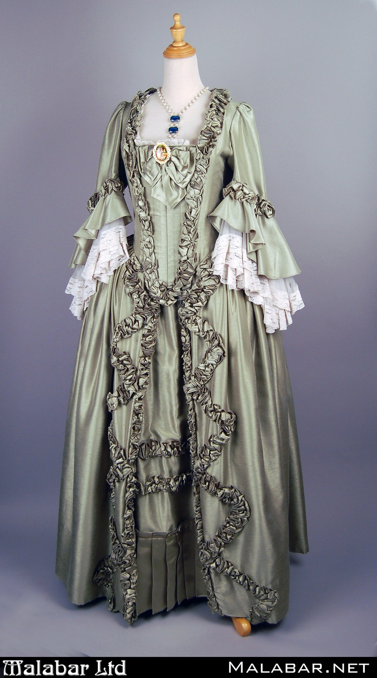 Pale Green Baroque Dress With Rococo Brooch And Pearl