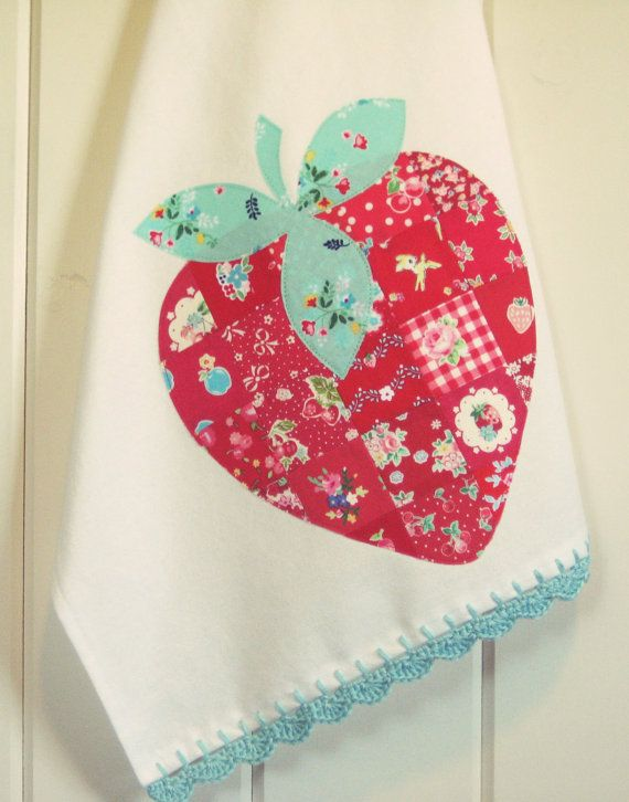 sweet patchwork strawberry flour sack tea towel made-to-order