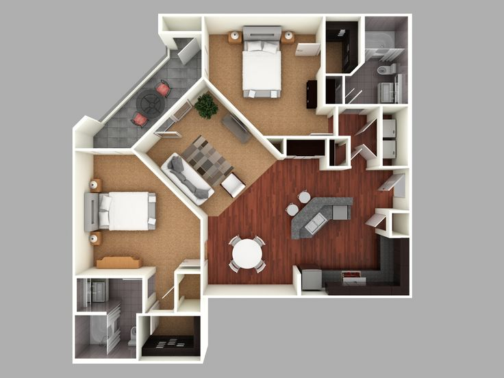 3d colored floor plan architecture colored floor plan Small 2 bedroom apartment floor plans