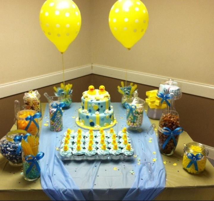 Rubber Ducky Baby Shower Cake Table Candy Buffet