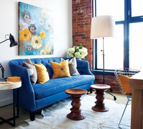 Small Narrow Living Room Decoration Ideas Blue Sofa Wall