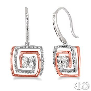 #swansondiamondcenter #diamond #rosegold #earrings  These well-designed diamond earrings are designed to accent your glamorous sense of style. Fashioned in 10 karat gleaming white and pink gold, these earrings are embedded with 8 scintillating round cut diamonds for an eye-catching flowery look on a white gold frame further accentuated by sleek rows of white and pink gold in intricate square design. Total diamond weight is 1/4 ctw.