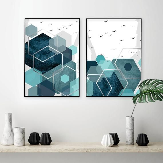 Set Of 2 Printable Abstract Art Prints In Teal Aqua Turquoise Silver Downloadable Geometric Hexagonal Wall Art Poster Downloads High Res A1 Abstract Art Prints Art Abstract
