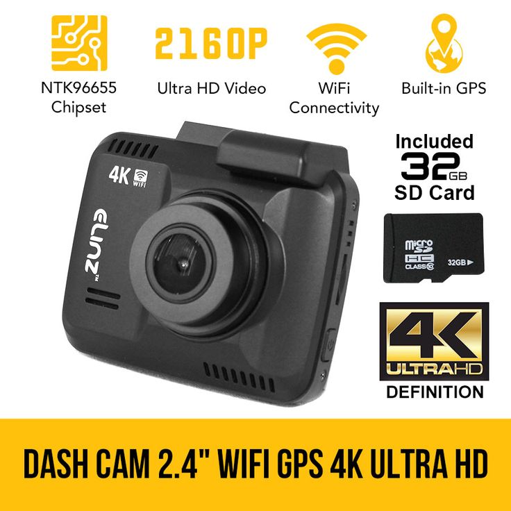 2.4 LCD Dash Cam Car Video Camera 2160P WIFI GPS 150° 4K Ultra HD Novatek 32GB
