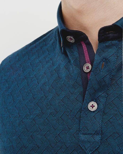 Jacquard polo shirt - Teal | Tops & T-shirts | Ted Baker