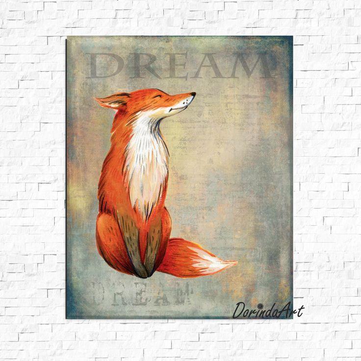 Dream print Fox print Watercolor Fox printable Orange and gray Nursery fox decor Boys bedroom wall art Dorm DOWNLOAD 16x20 11x14 8x10 5x7 by DorindaArt on Etsy https://www.etsy.com/listing/268355290/dream-print-fox-print-watercolor-fox
