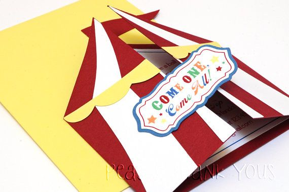how to make circus tent invitations