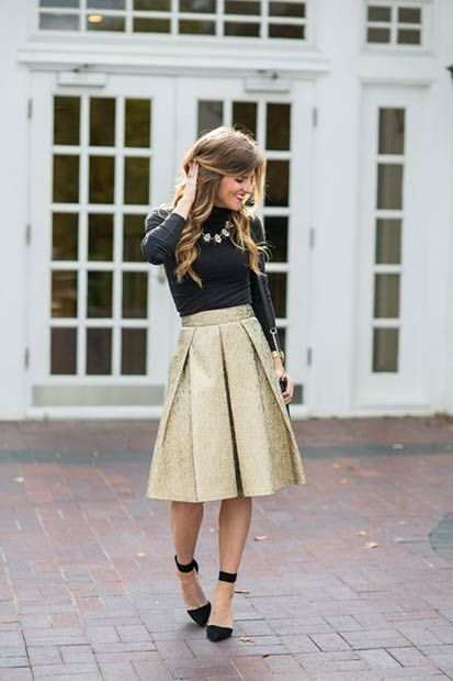 Black and Gold Christmas Outfit Idea