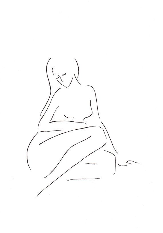 Simple line drawing. Minimalist sketch of a nude woman by siret roots. #woman…