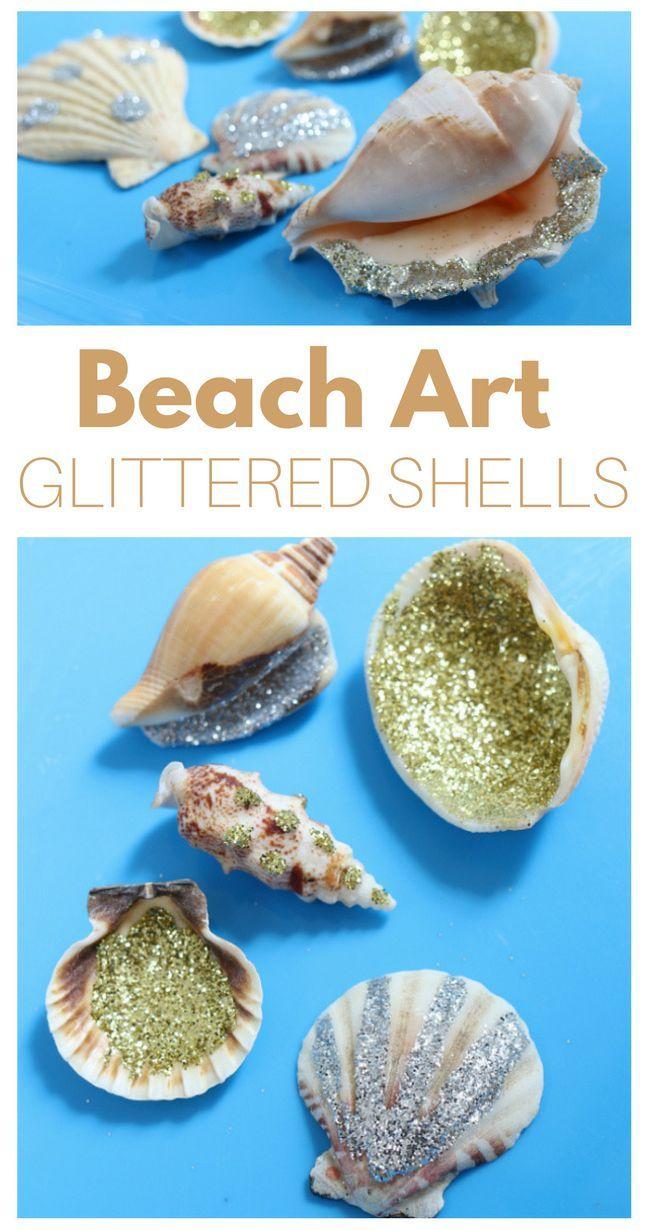 Beach Art Project - Glittered Shells