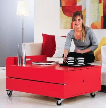 Whether it's a visit from friends or relatives, or a child who wants to host a sleepover, an extra bed can really come in handy. And if space at your house or apartment is at a premium (as it is for most of us), here's a unique way to stow that spare bed. This coffee table conveniently rolls about on casters to wherever you need it.