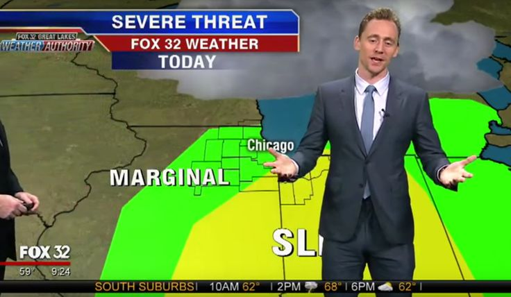 "[ew_brightcove videoid=""4826710976001"" pushTop autoPlay] Possibly tired of watching Asgard burn, Loki hit Earth on Thursday to give the weather report on a local Chicago-area news broadcast.  Tom Hiddleston, who plays Loki in the Marvel Cinematic Universe and currently stars as Hank Williams in I Saw The Light, stepped in on Chicago 32 to provide some commentary on a string of bad weather throughout the Midwest."