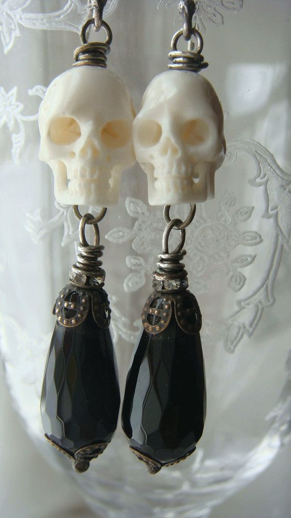 Hand Carved Bone Skull Bead Charm with  Filigree by CobwebPalace