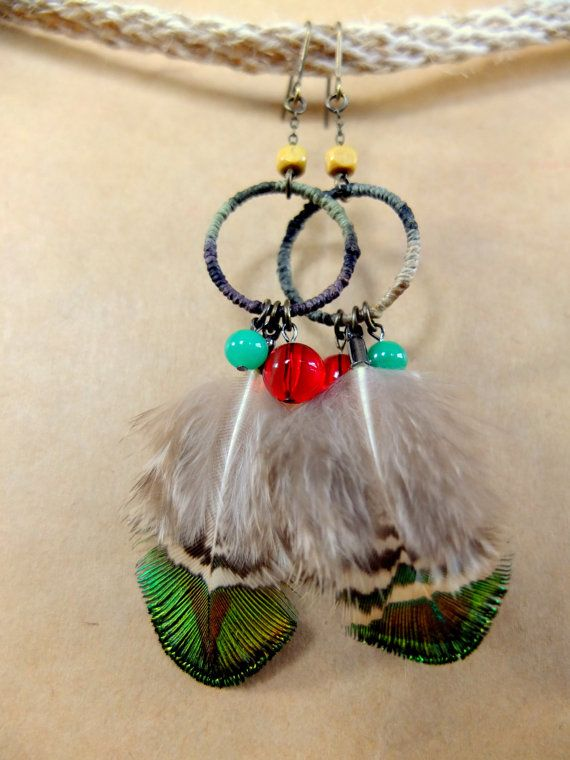 Hemprings with natural fether earrings by MrGreener on Etsy, $20.00