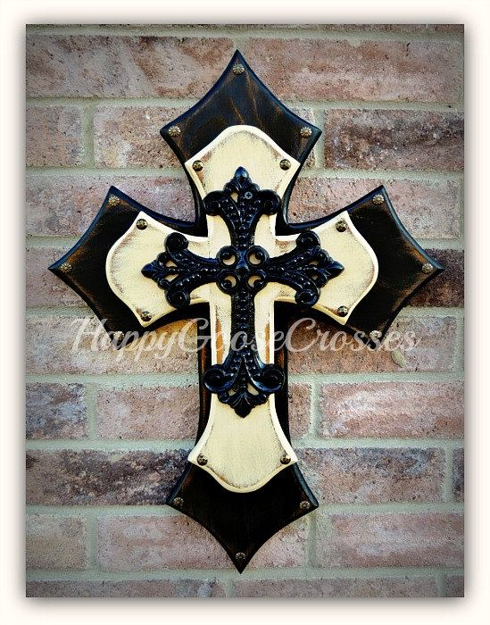 Medium Wall CROSS  Antiqued Black & Cream with large by happygoose, $55.95