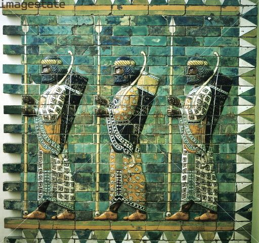 Detail from the Ishtar Gate, Babylon, Pergamon Museum, Berlin, Germany. Built in c575 BC during the reign of Nebuchadrezzar II the Ishtar Gate led into the city of Babylon via the Processional Way, along which statues of the Babylonian gods were paraded during New Year celebrations.