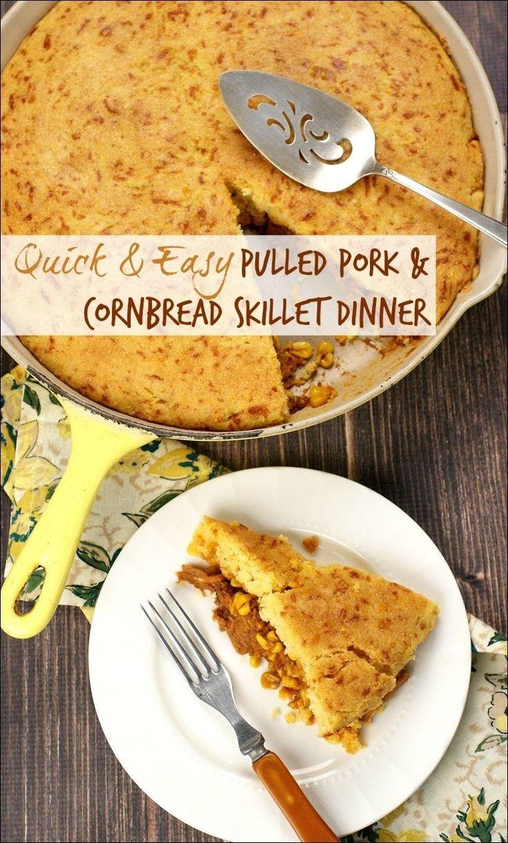 & Easy Pulled Pork & Cornbread Skillet Dinner | Thanksgiving Dinner ...