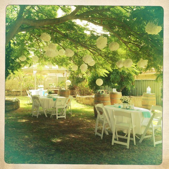 "Breakfast @ Tiffany's Themed Hen's Party - Garden Party - Pom Poms - ""Epic Wine Barrels"" - Tree"