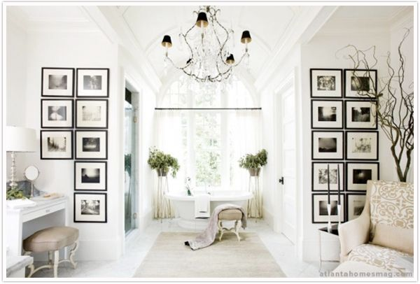 high contrast modern artwork paired with ornate chandelier: Idea, Frames Pictures, Interiors Design, Dreams Bathroom, Black White, White Bathroom, Photo, White Wall, Master Bathroom