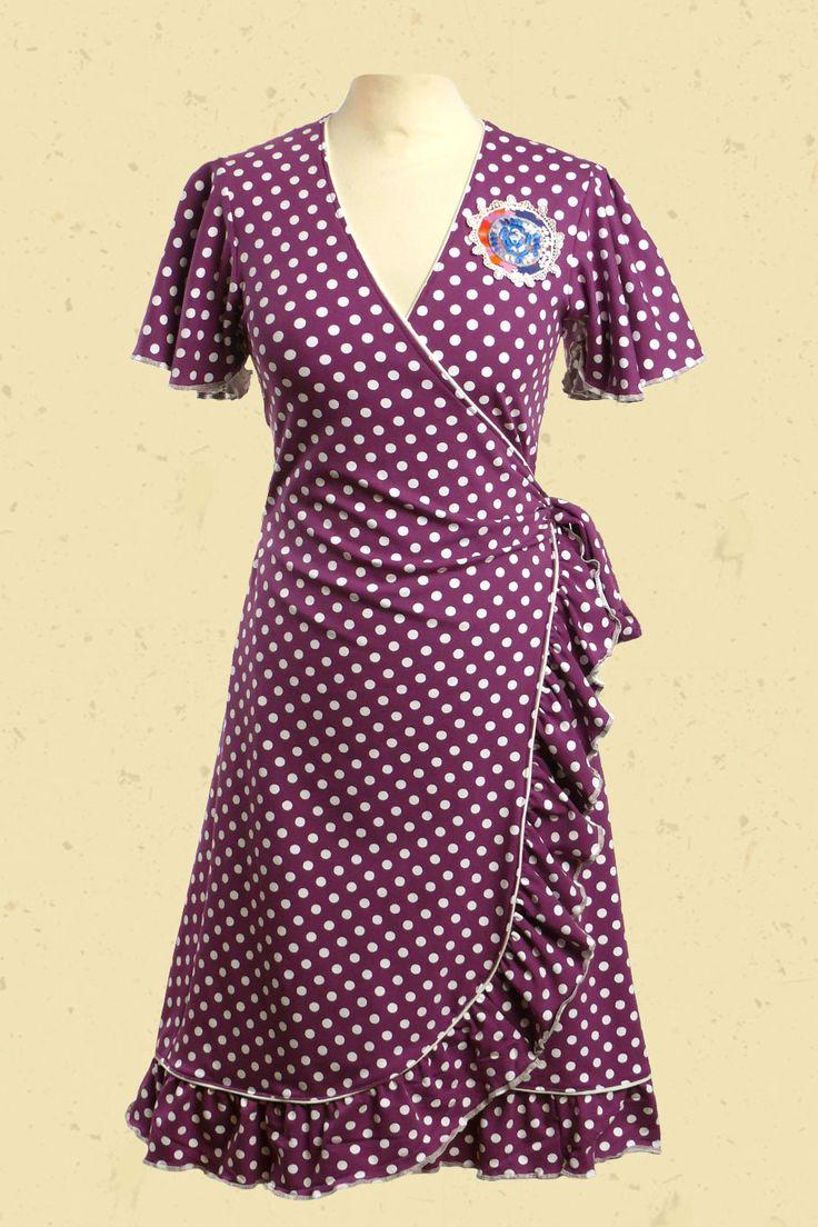 Talulabelle Paarse gestipte wit wikkeljurk met vintage applicatie spaanse stijl wrap dress purple polkadots white spanish style
