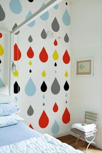 Wall wallpaper raindrops