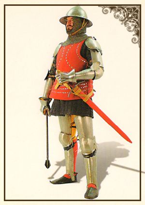 Шлем с полями, бригандина, латные прикрытия рук и ног.   Северная Италия 1380-1400 гг.   Сталь, сукно, стальная проволока, кожа.   Ковка, клепка, кольчужное плетение.