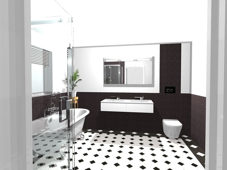Black White Art Deco Style Bathroom