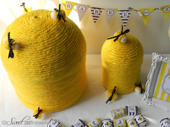 HOW TO DIY Beehives For A Bumble Bee Baby Shower With Bright Yellow Yarn
