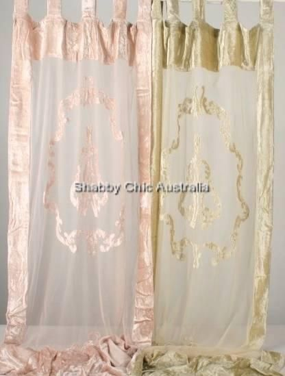 Shabby French Provincial Chic Pair Embossed Curtain Drapes 2 Pink Velvet Panels