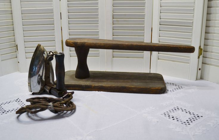 Vintage Wooden Sleeve Ironing Board and GE Simplex Iron Primitive Rustic Home Decor Photo Prop Display PanchosPorch