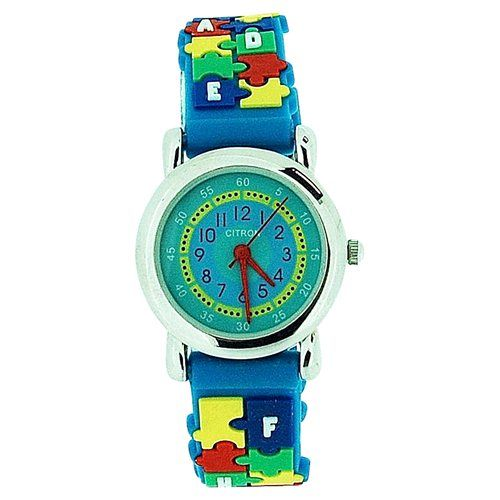 Citron Analogue Girls - Boys Time Teacher Jigsaw Blue Silicone Strap Watch KID46