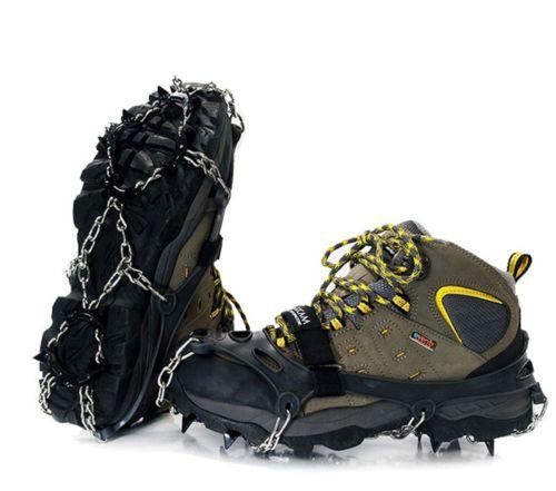 "Ice Climbing Snow Shoe Chain Spike Crampons Anti Silp Eisen M Size 9.8~10.4""Gray"