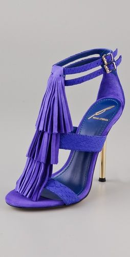 B Brian Atwood Purple Luciana Suede Fringe Sandals