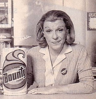 """Bounty paper towels, """"the quicker picker-upper."""" Rosie from 1970 to 1990"""